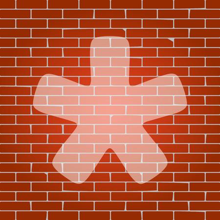 Asterisk star sign. Vector. Whitish icon on brick wall as background. Ilustração