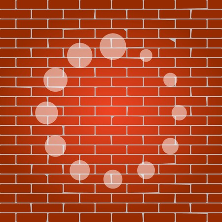 uploading: Circular loading sign. Vector. Whitish icon on brick wall as background.