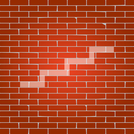 Stair up sign. Vector. Whitish icon on brick wall as background.