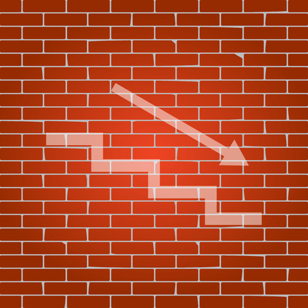 Stair down with arrow. Vector. Whitish icon on brick wall as background.