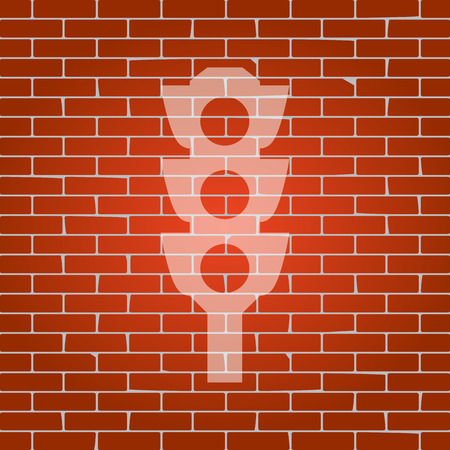 authority: Traffic light sign. Vector. Whitish icon on brick wall as background.