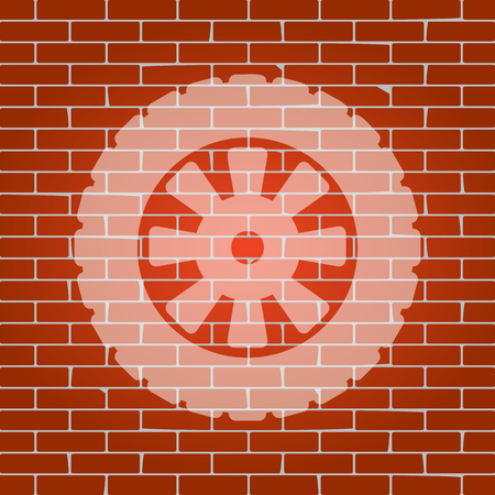 bolt: Road tire sign. Vector. Whitish icon on brick wall as background.