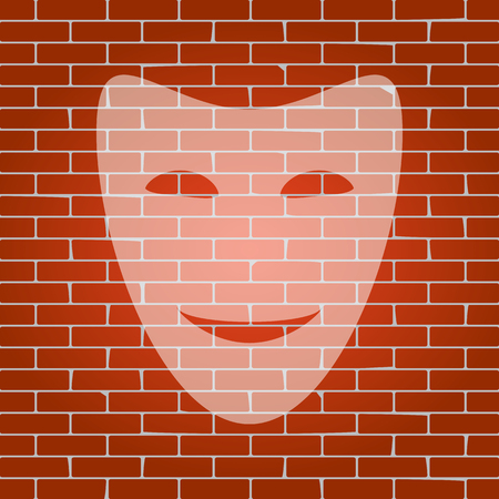 theatre masks: Comedy theatrical masks. Vector. Whitish icon on brick wall as background.