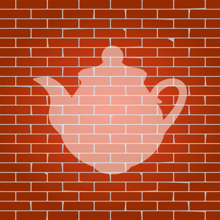 boiler: Tea maker Kitchen sign. Vector. Whitish icon on brick wall as background.