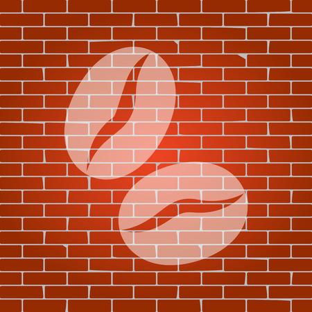 커피 콩 서명입니다. 벡터. 배경으로 벽돌 벽에 흰 아이콘입니다.