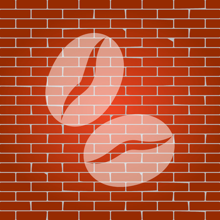 Coffee beans sign. Vector. Whitish icon on brick wall as background. Imagens - 81183784