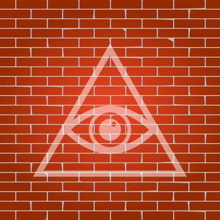 All seeing eye pyramid symbol. Freemason and spiritual. Vector. Whitish icon on brick wall as background.