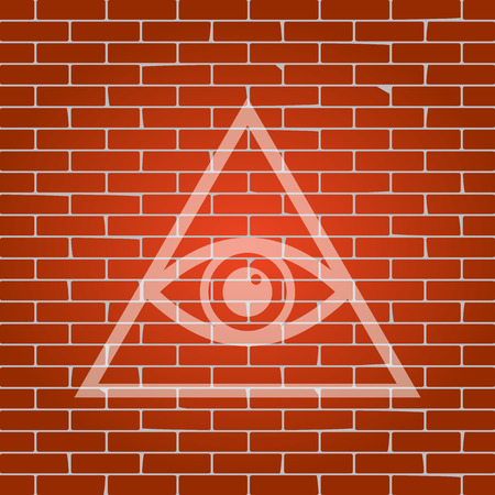 All seeing eye pyramid symbol. Freemason and spiritual. Vector. Whitish icon on brick wall as background.