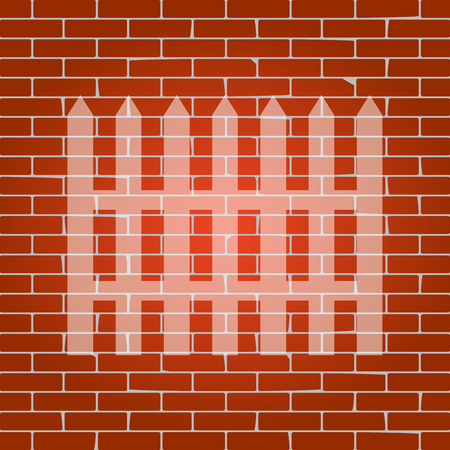 Fence simple sign. Vector. Whitish icon on brick wall as background. Illustration