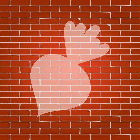 Beet simple sign. Vector. Whitish icon on brick wall as background. Illusztráció