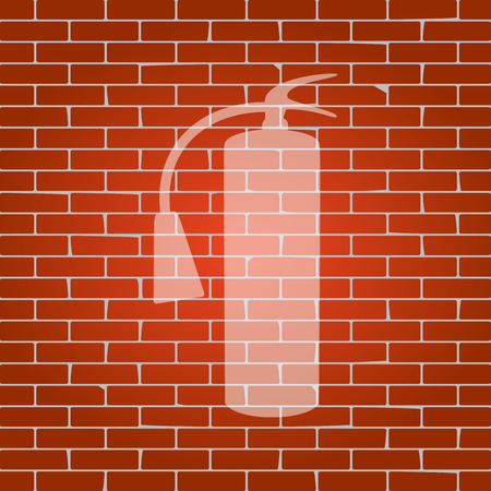 Fire extinguisher sign. Vector. Whitish icon on brick wall as background. Ilustração