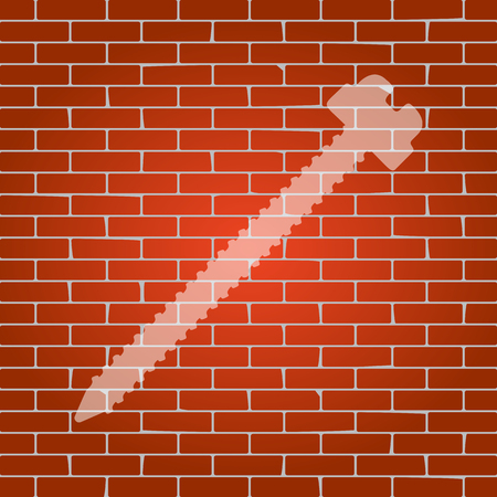 Screw sign illustration. Vector. Whitish icon on brick wall as background.