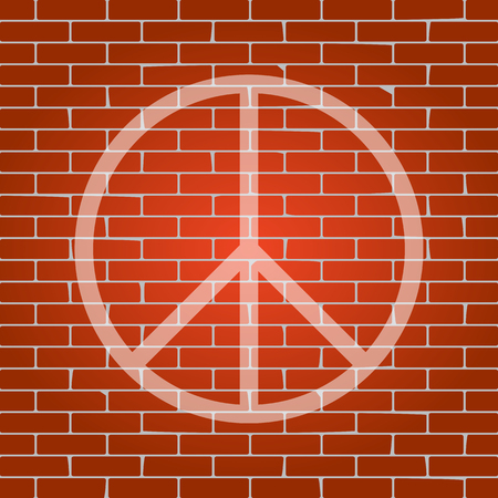 pacificist: Peace sign illustration. Vector. Whitish icon on brick wall as background.