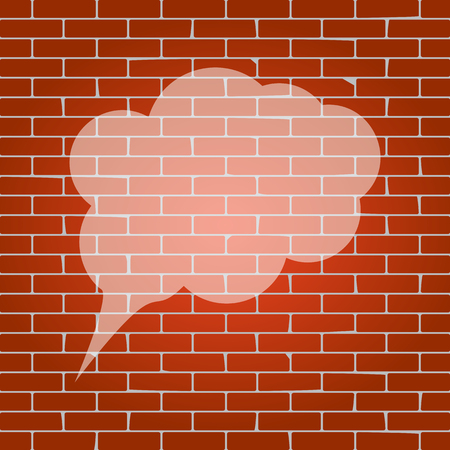 announce: Speach bubble sign illustration. Vector. Whitish icon on brick wall as background. Illustration