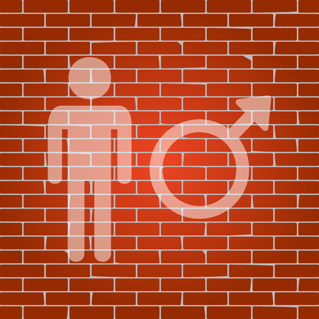 andropause: Male sign illustration on brick wall. Illustration