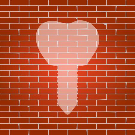 Tand implantaat teken illustratie op bakstenen muur.