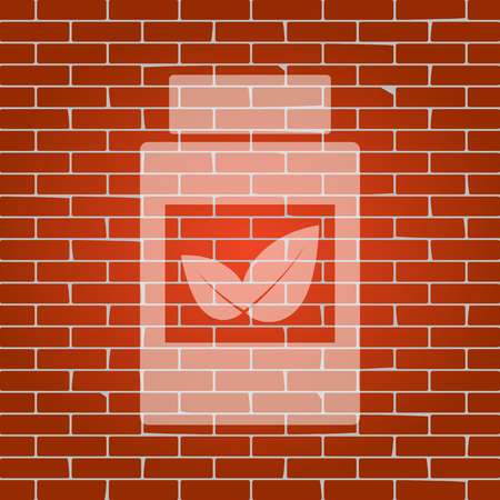 medical distribution: Supplements container sign. Vector. Whitish icon on brick wall as background.