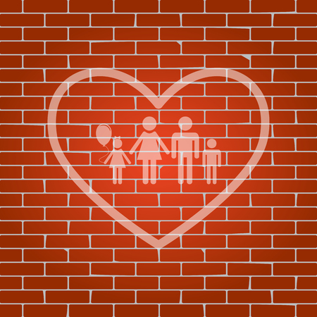 siloette: Family sign illustration in heart shape. Vector. Whitish icon on brick wall as background.