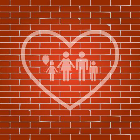 siloette: Family sign illustration in heart shape.