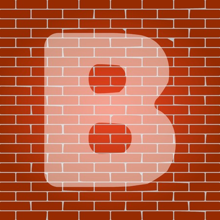 alphabetic character: Letter B sign design template element on brick wall.