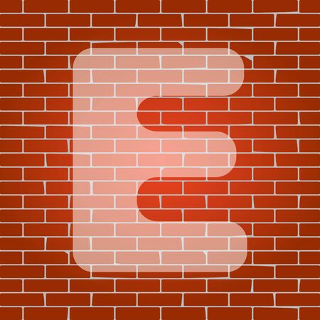 typescript: Letter E sign design template element. Vector. Whitish icon on brick wall as background. Illustration