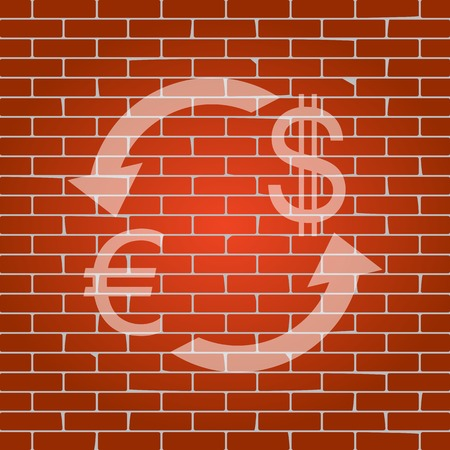 yen: Currency exchange sign. Euro and Dollar. Vector. Whitish icon on brick wall as background.