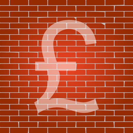 Turkish lira sign. Vector. Whitish icon on brick wall as background.