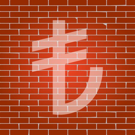 converter: Turkiey Lira sign. Vector. Whitish icon on brick wall as background. Illustration
