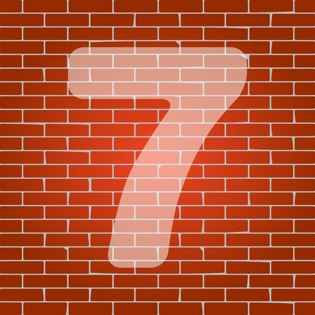 cipher: Number 7 sign design template element. Vector. Whitish icon on brick wall as background.