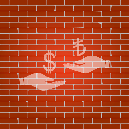 yen: Currency exchange from hand to hand. Dollar and Turkey Lira. Vector. Whitish icon on brick wall as background. Illustration