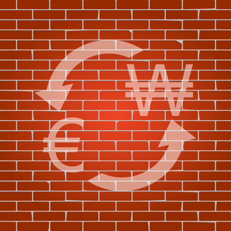 yen: Currency exchange sign. Euro and South Korea Won. Vector. Whitish icon on brick wall as background.