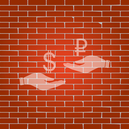 yen: Currency exchange from hand to hand. Dollar and Ruble. Vector. Whitish icon on brick wall as background.