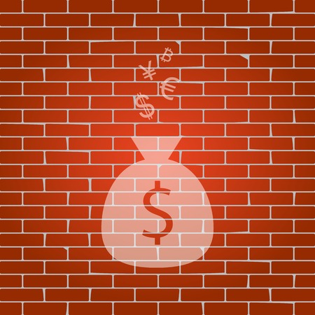 Money bag sign with currency symbols. Vector. Whitish icon on brick wall as background. Illustration