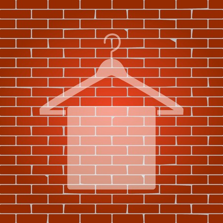 textile care: Towel On Hanger sign. Vector. Whitish icon on brick wall as background.