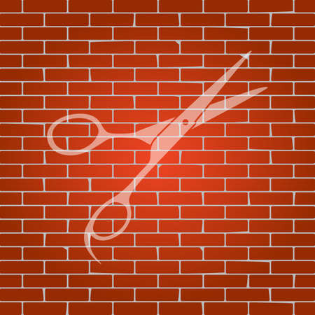grooming: Hair cutting scissors sign. Vector. Whitish icon on brick wall as background. Illustration