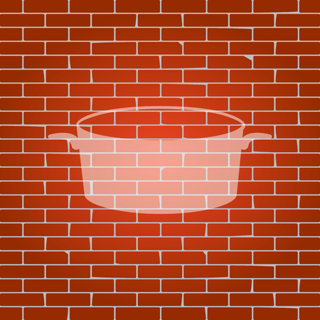Pan sign. Vector. Whitish icon on brick wall as background.