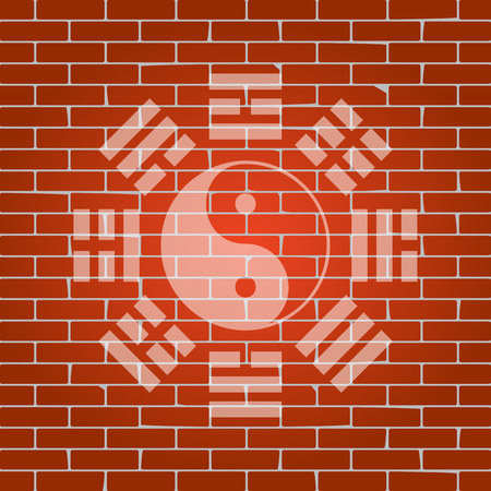 taijitu: Yin and yang sign with bagua arrangement. Vector. Whitish icon on brick wall as background.