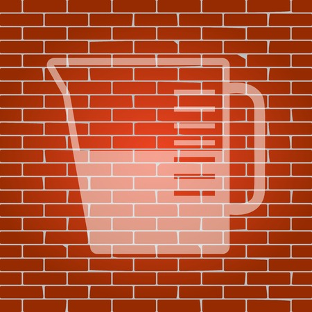Beaker sign. Vector. Whitish icon on brick wall as background.