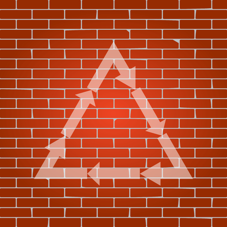 v cycle: Plastic recycling symbol PVC 3 , Plastic recycling code PVC 3. Vector. Whitish icon on brick wall as background. Illustration