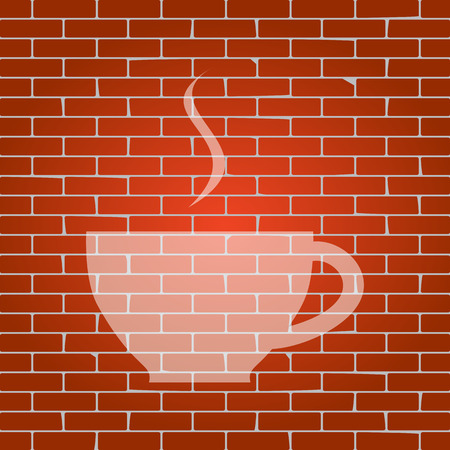long beans: Cup sign with one small stream of smoke. Vector. Whitish icon on brick wall as background. Illustration