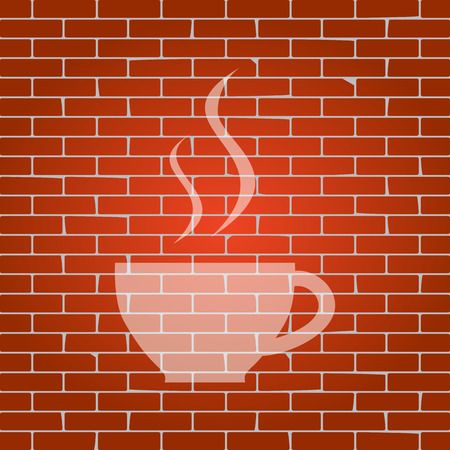 long bean: Cup sign with two small streams of smoke. Vector. Whitish icon on brick wall as background.