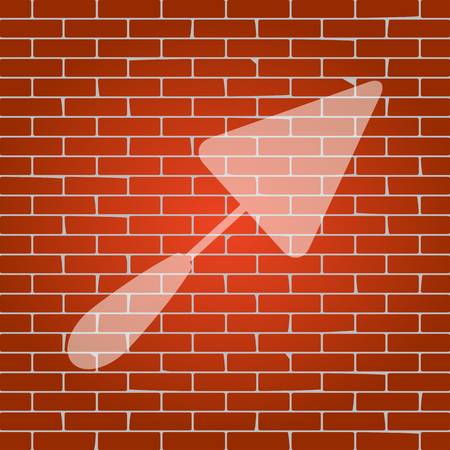 Trowel sign. Vector. Whitish icon on brick wall as background.