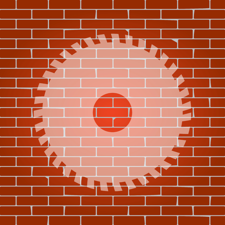 dangerous construction: Saw sign. Vector. Whitish icon on brick wall as background. Illustration