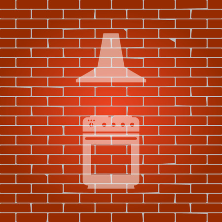prepare: Electric or gas stove and extractor kitchen hood sign. Vector. Whitish icon on brick wall as background.