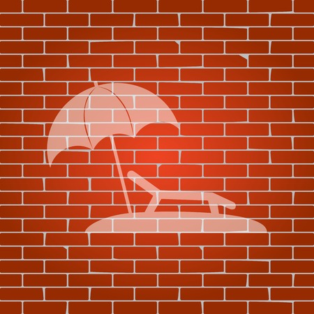 brolly: Tropical resort beach. Sunbed Chair sign. Vector. Whitish icon on brick wall as background.