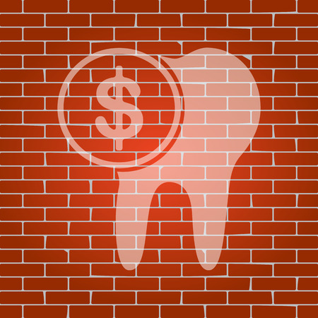 The cost of tooth treatment sign. Vector. Whitish icon on brick wall as background. Stock Illustratie