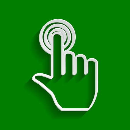 Hand click on button. Vector. Paper whitish icon with soft shadow on green background. Illustration