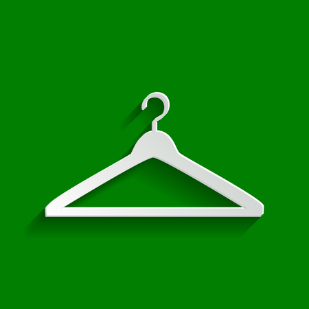 hangers: Hanger sign illustration. Vector. Paper whitish icon with soft shadow on green background.