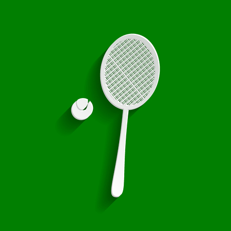 stretch: Tennis racquet with ball sign. Vector. Paper whitish icon with soft shadow on green background. Illustration