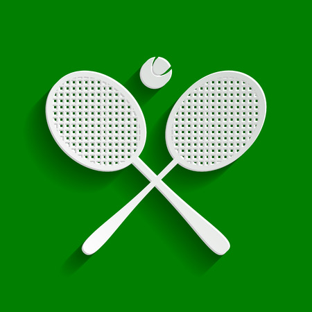 Two tennis racket with ball sign. Vector. Paper whitish icon with soft shadow on green background. Illustration